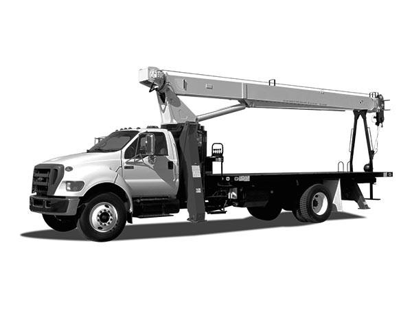 Mobile Crane - boom truck - black and white