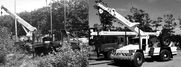 Photos of two different mobile specialty cranes on the job site