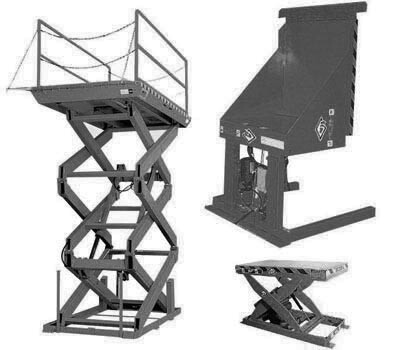 Table Lifts - three different types - black and white photo