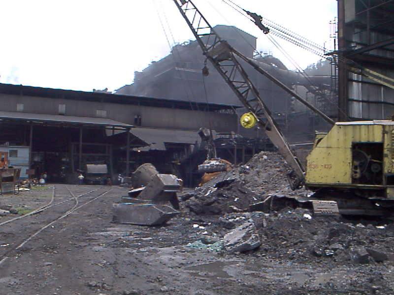 Inspecting a vintage crane