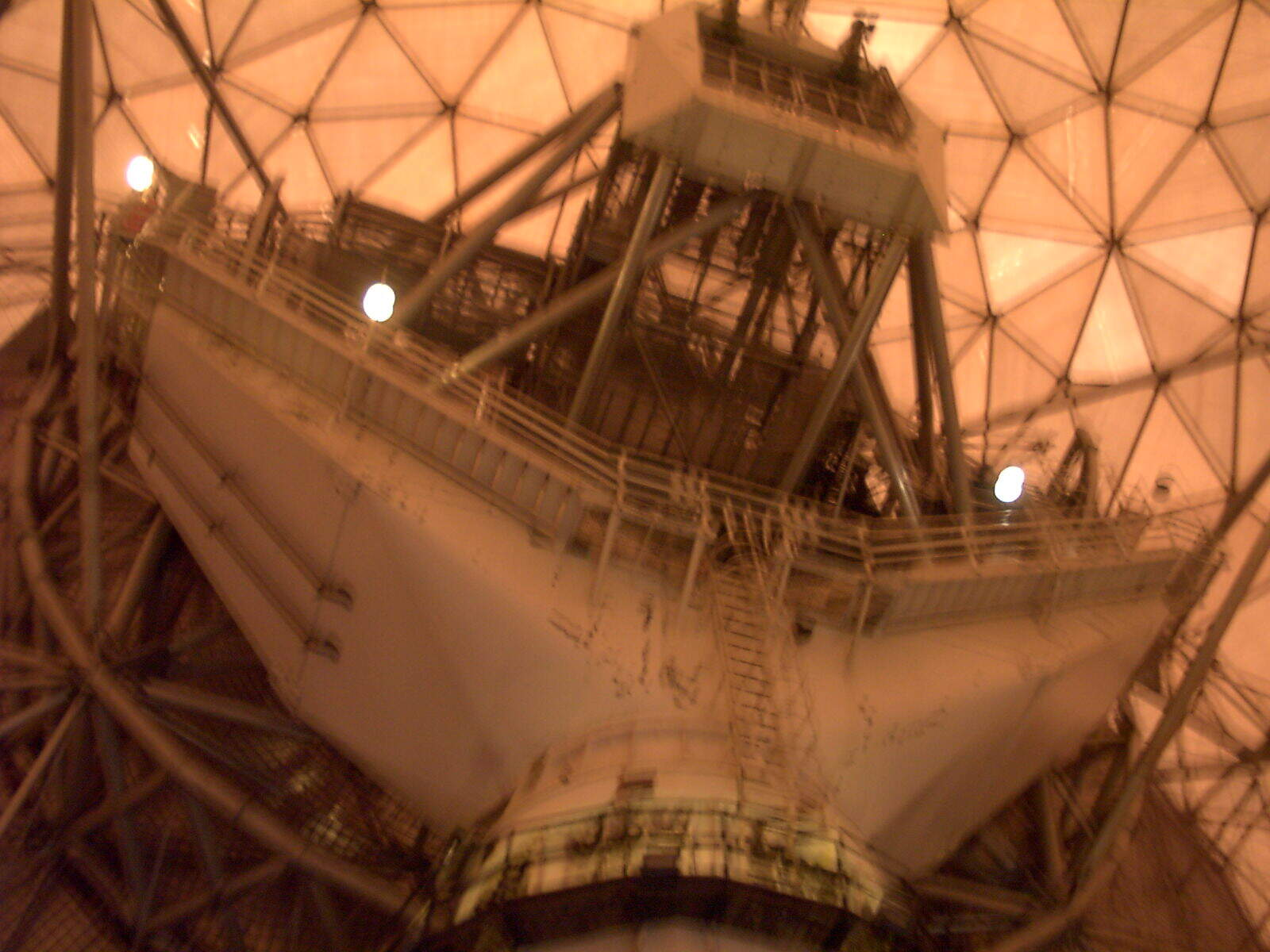A long climb up to MIT's humongous dish mounted overhead crane