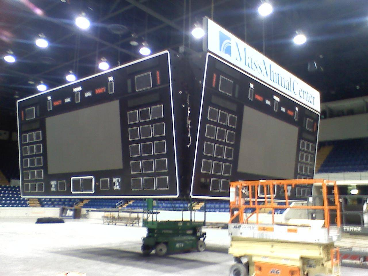 Using the scoreboard to load test 4 overhead cranes at Mass Mutual Center