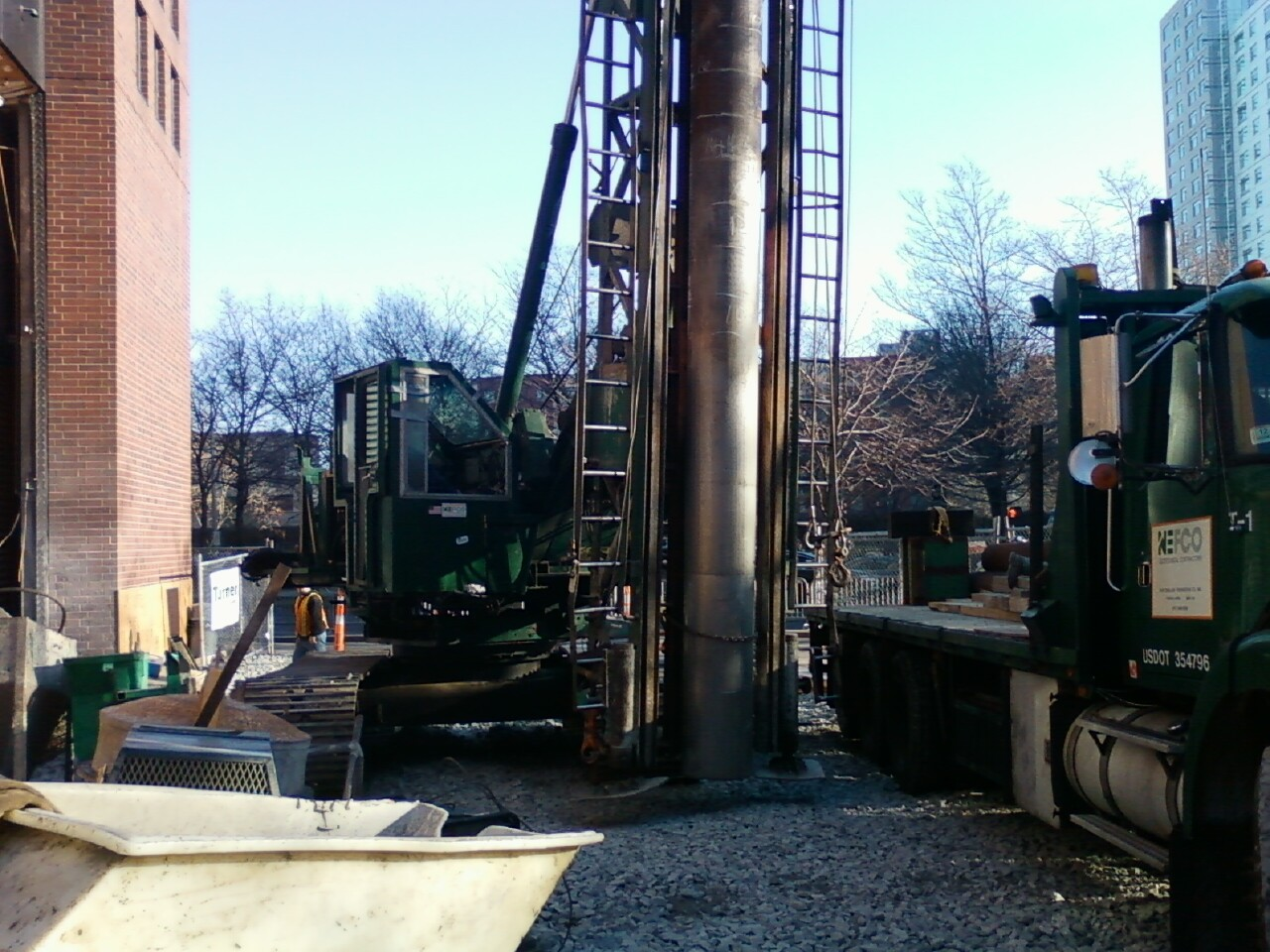 NEFCO's pile driver shoehorned into a tight space