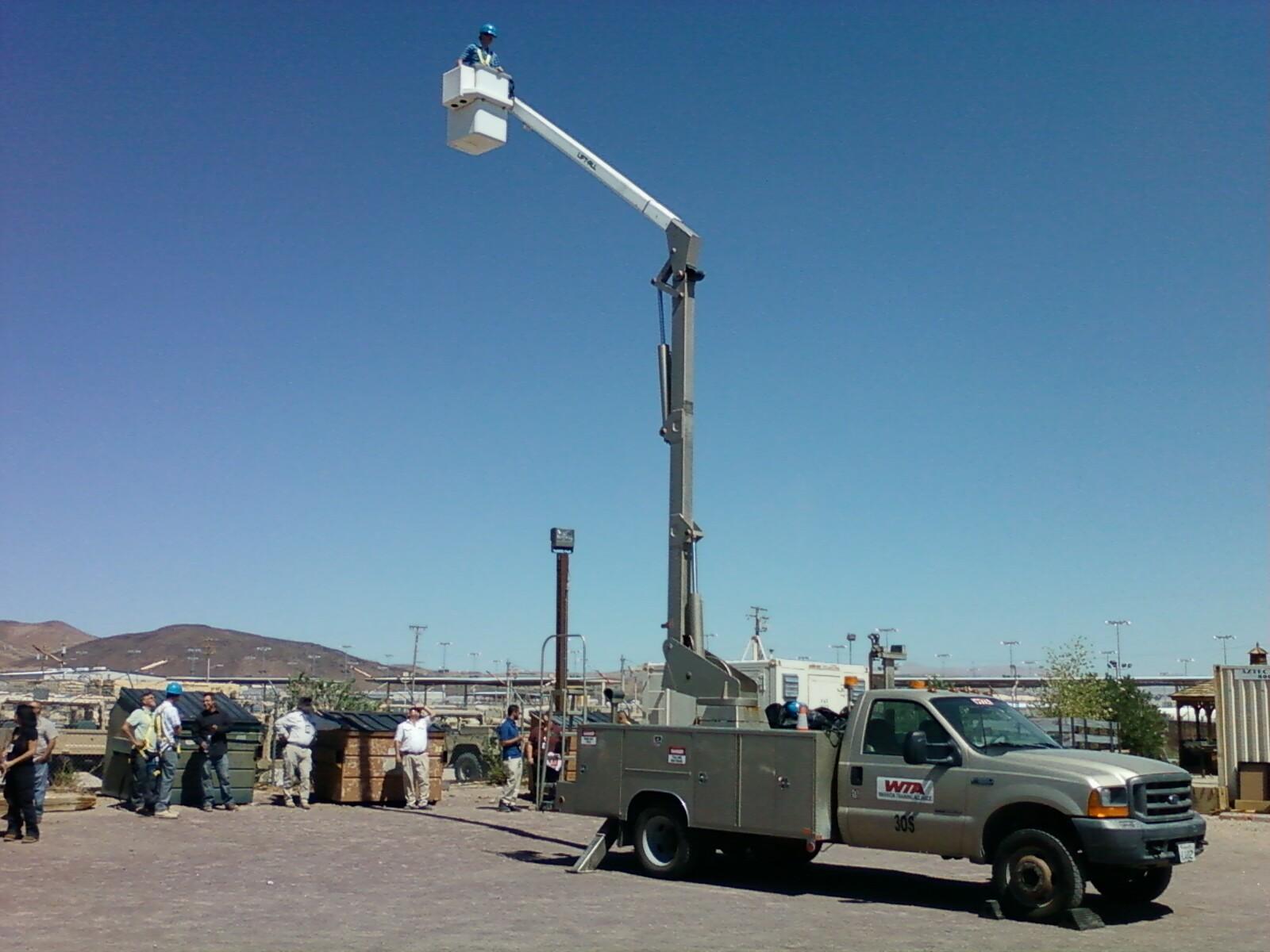 Raytheon's Liftall Bucket truck inspection in the desert